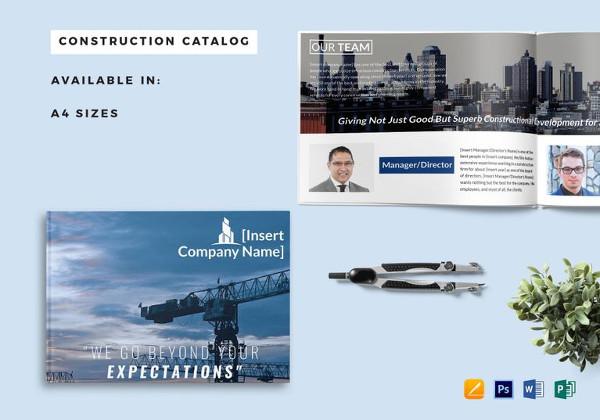 Plantillas de catálogos , construcción-empresa-catálogo-plantilla