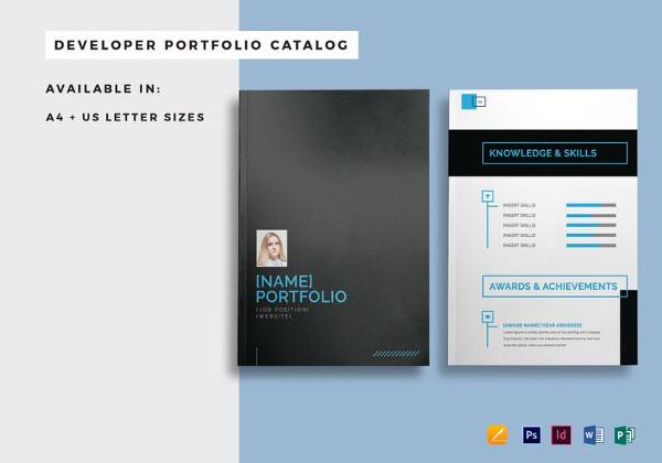 Plantillas de catálogos , desarrollador-portafolio-catálogo-plantilla