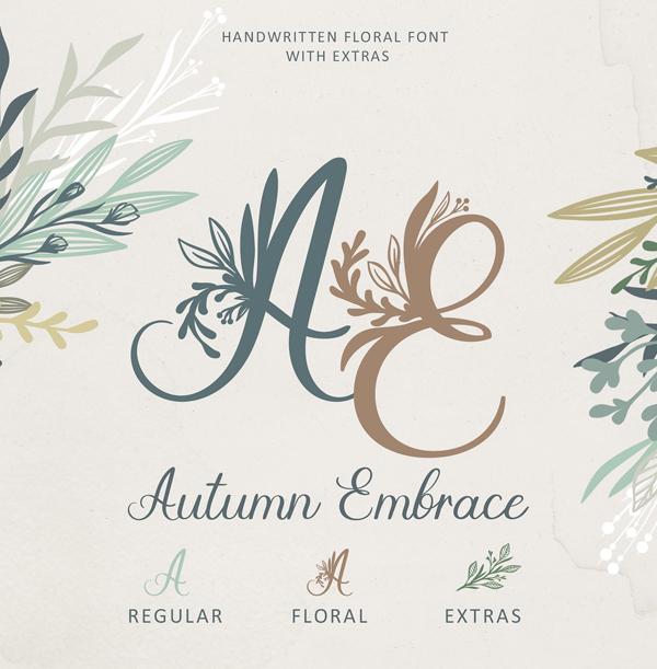 Fuentes de Firma: Autumn Embrace Floral Fuente Gratis  EXTRAS