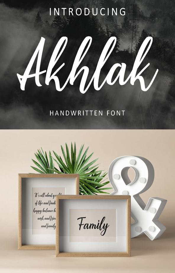 Fuente Akhlak Handwritten Free