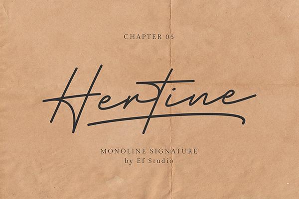 Fuentes tipo firma: Hertine - Monoline Signature