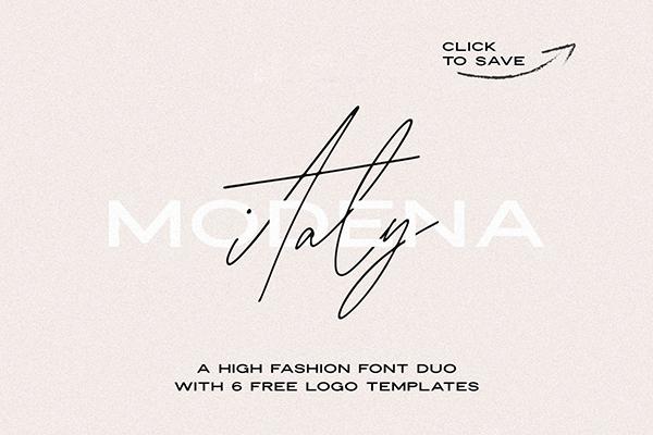 Fuentes tipo firma: Módena Duo con 6 Logotipos Gratis