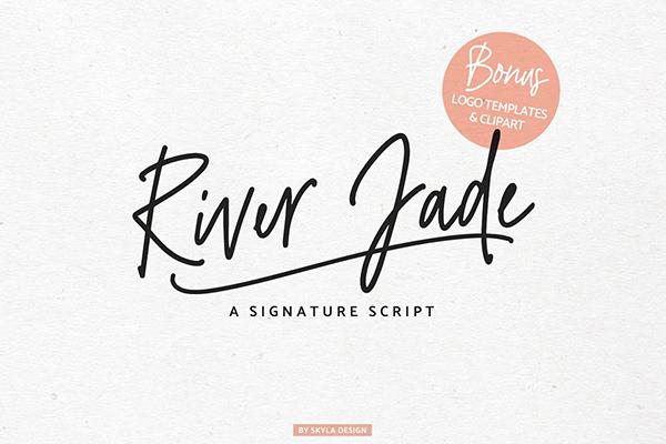 Fuente y logotipos de la firma River Jade