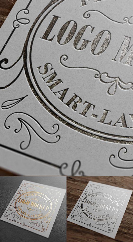 Maqueta de logotipo estampado en oro y plata gratis