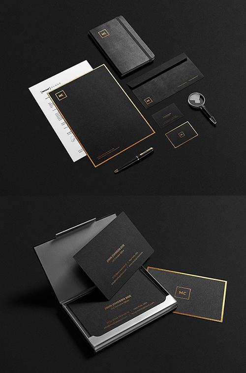 Maqueta de papelería negra y dorada PSD