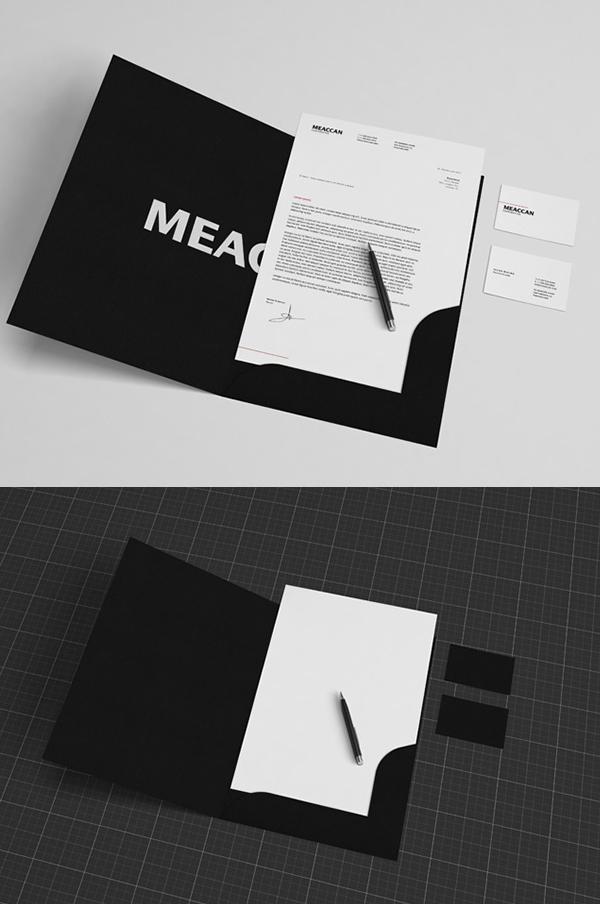 Maqueta de papelería en blanco y negro gratis