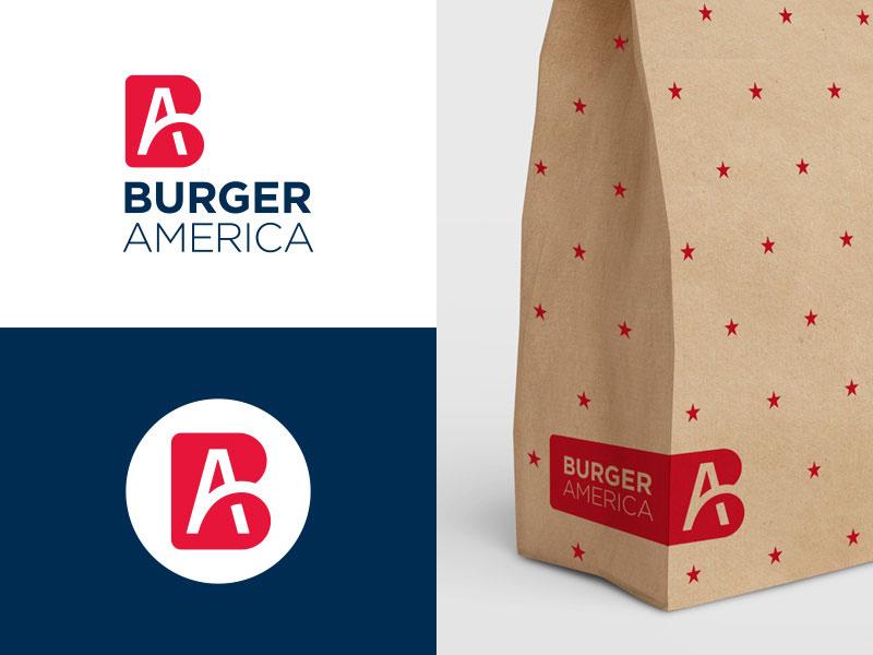 Ideas Logotipos de Hamburguesas: Logotipo de Burger America