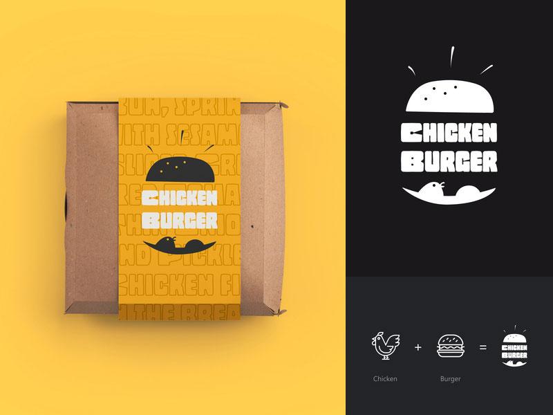 Logotipo de hamburguesa de pollo