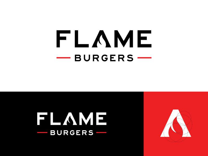 Ideas Logotipos de Hamburguesas: Logotipo de Flame Burger