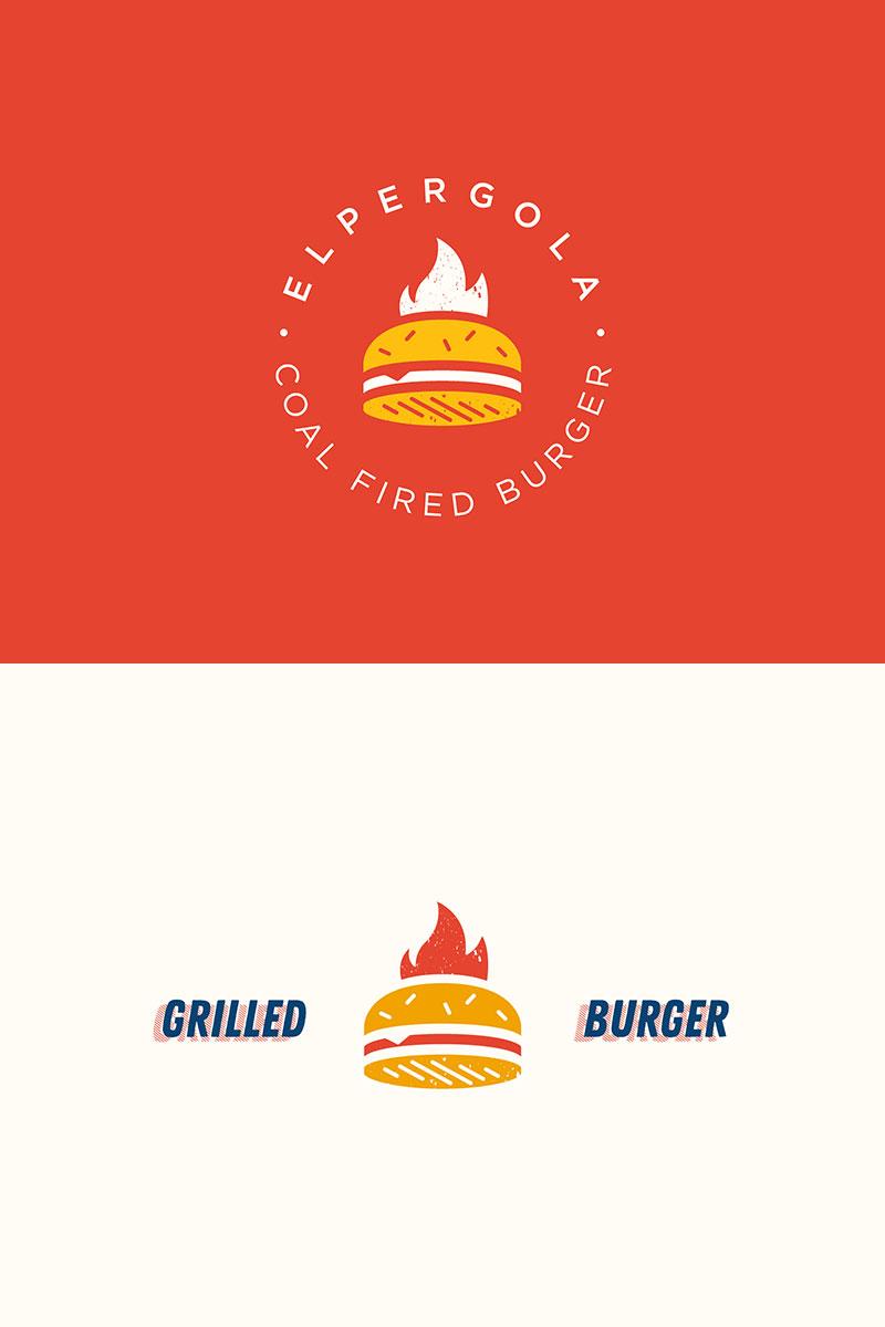 Concepto de logotipo de hamburguesa a la parrilla