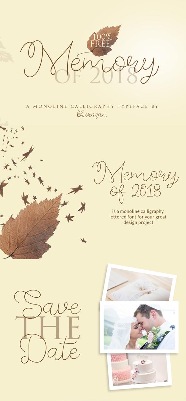 Fuentes de firma gratuitas: Memory of 2018 Free Font