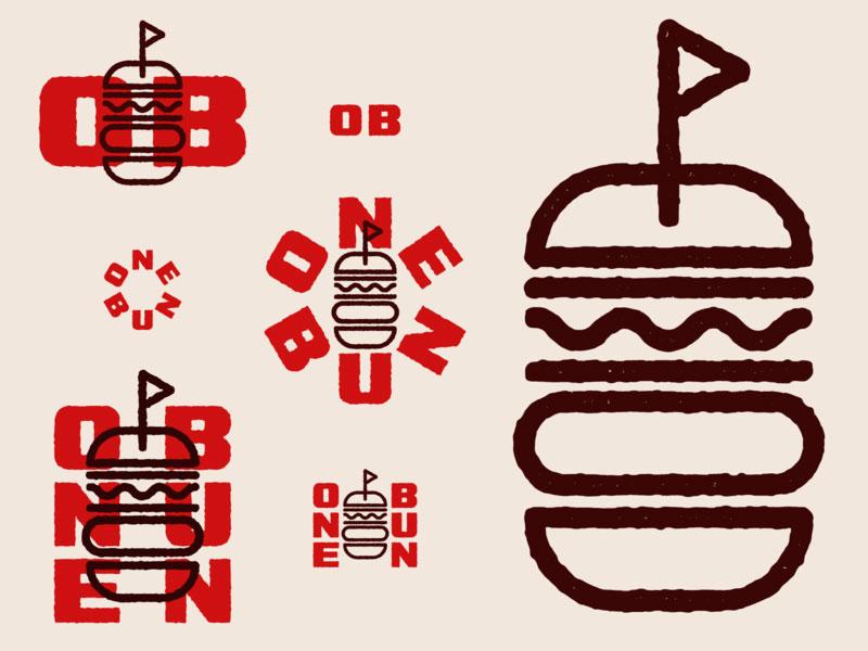 Ideas Logotipos de Hamburguesas: Logotipo de One Bun Burger