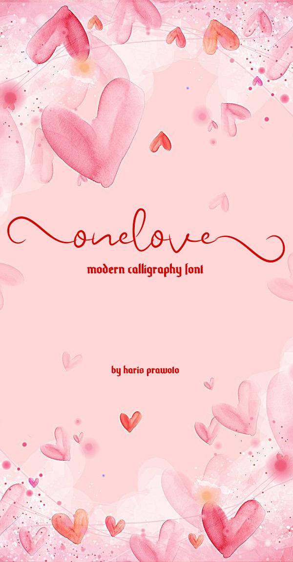 Fuente gratuita Onelove Calligraphy Script