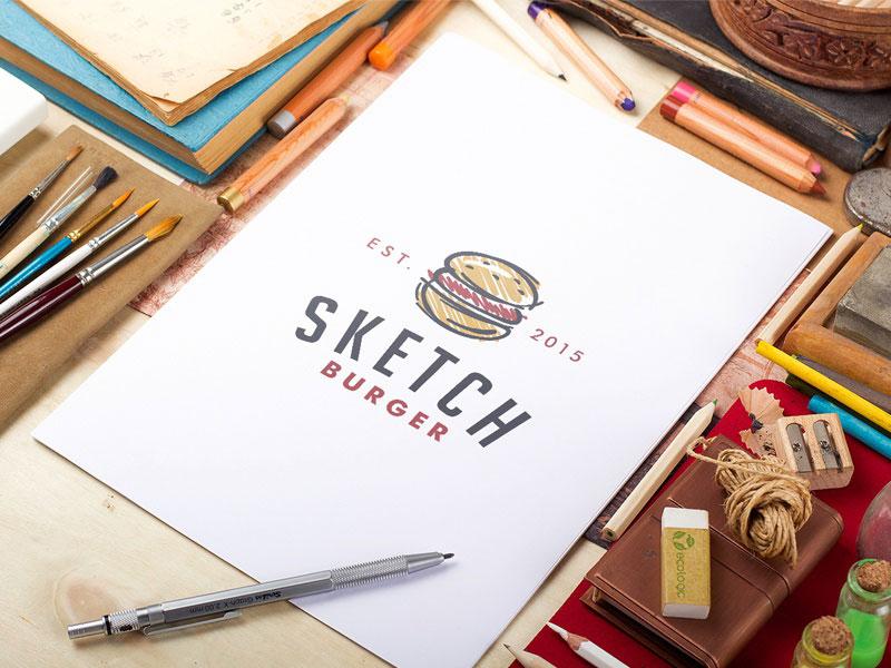 Logo de hamburguesa de bosquejo