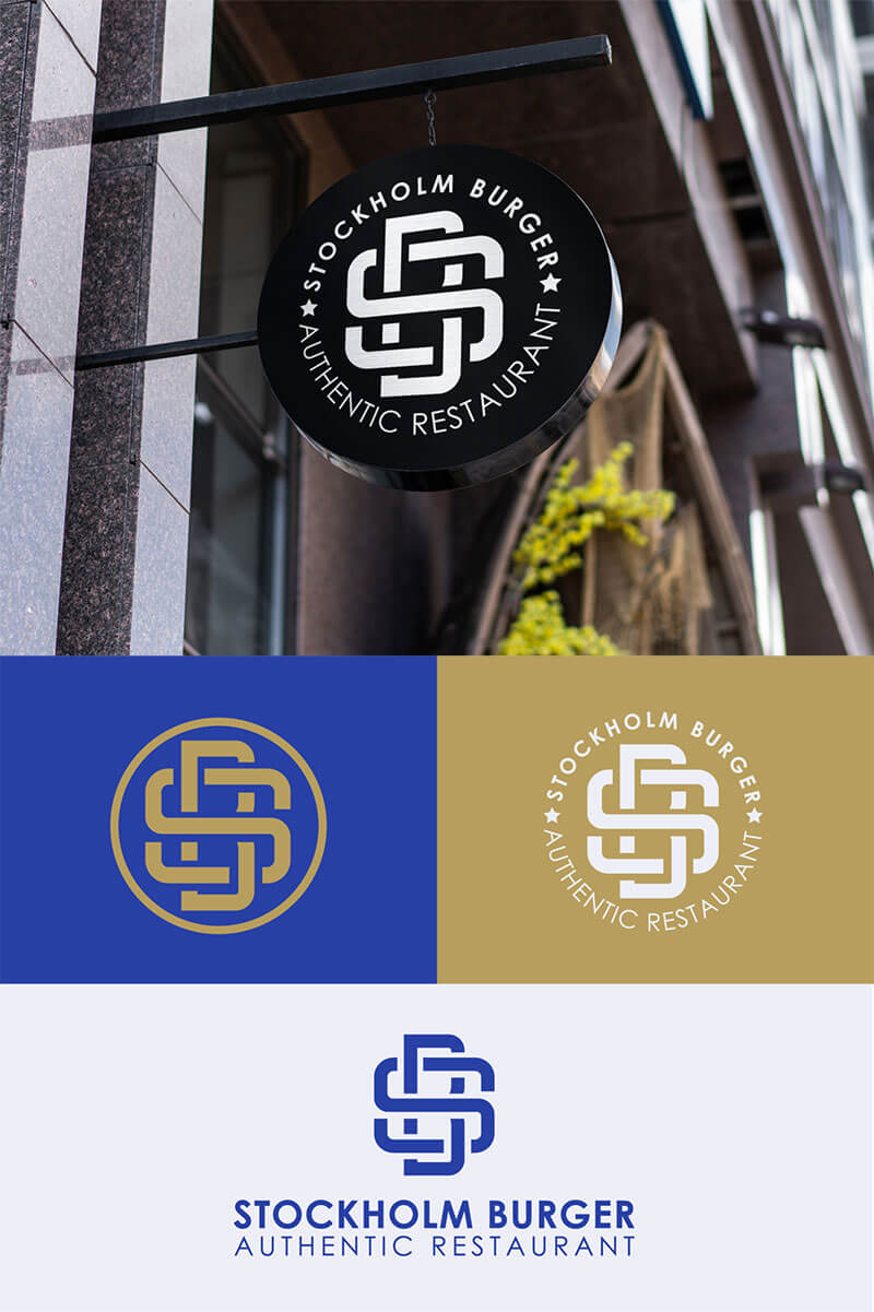 Ideas Logotipos de Hamburguesas: Logotipo de Stockholm Burger Monogram