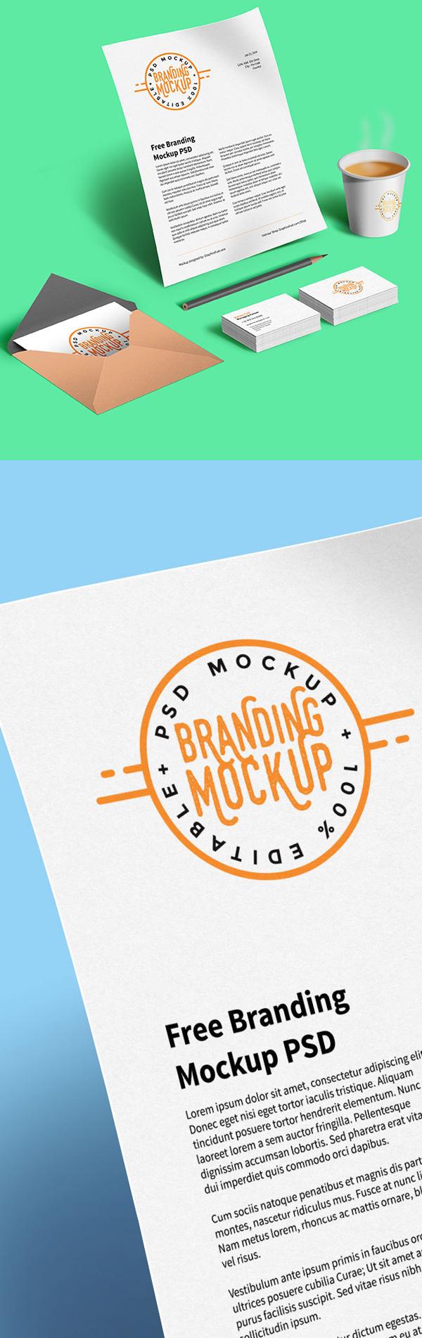 Diseño PSD de maqueta de marca gratis