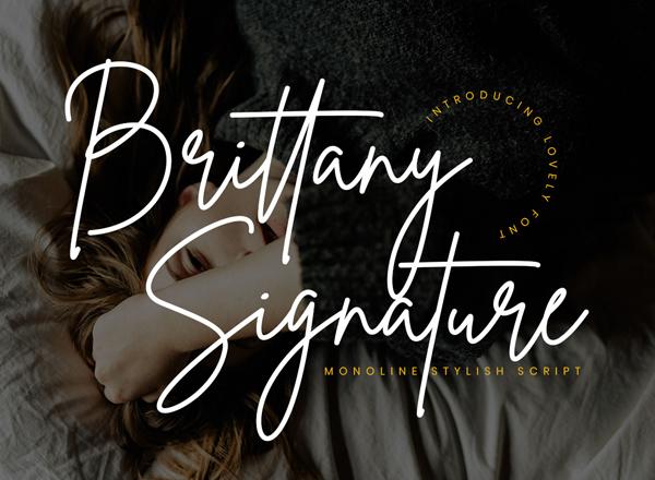 Fuentes de firma gratuitas: Brittany Signature Script Free