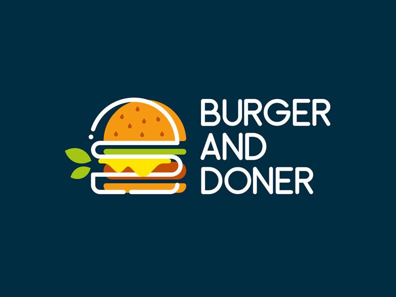 Ideas Logotipos de Hamburguesas: Logotipo de Burger and Doner para comida rápida