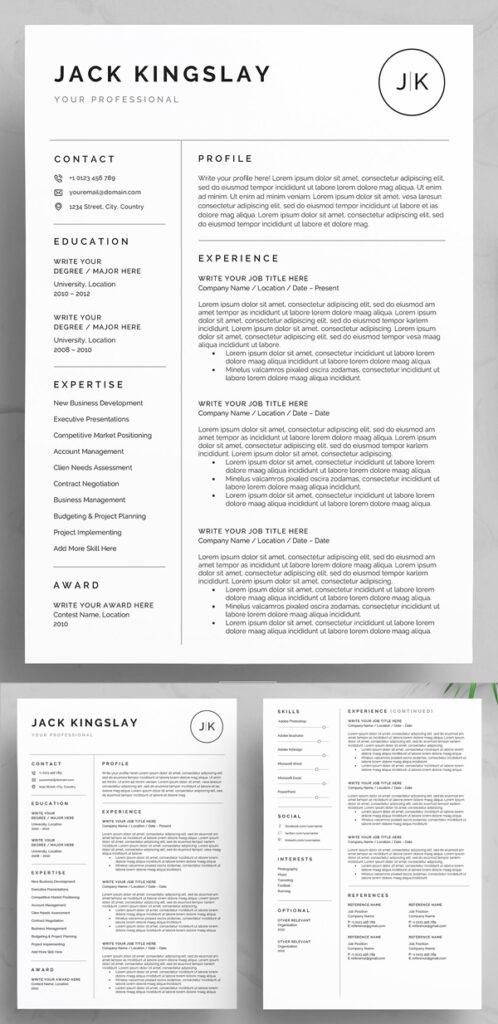 Plantillas de hojas de vida en Word: CV limpio y profesional