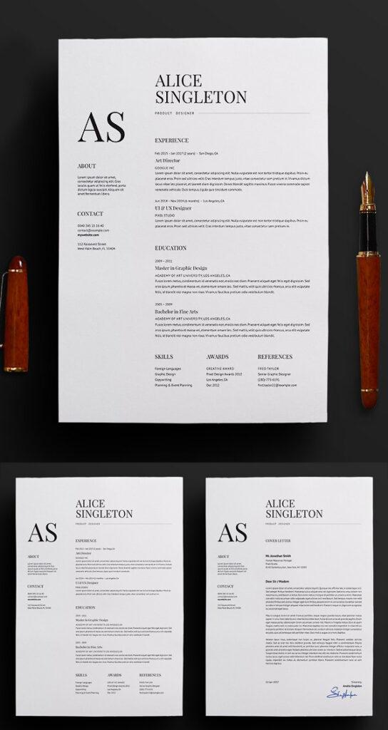 Plantillas de hojas de vida en Word: Currículum vitae elegante / CV y carta de presentación