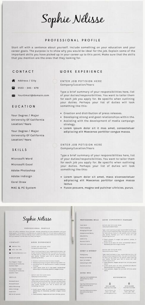 Plantillas de hojas de vida en Word: Plantilla de CV profesional