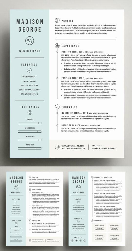 Plantilla de currículum y carta de presentación