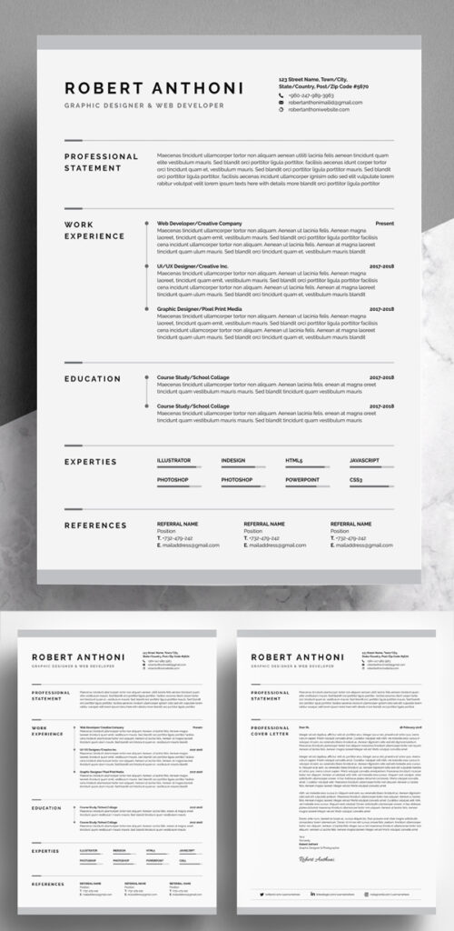 Impresionante y creativo curriculum vitae / plantilla de CV