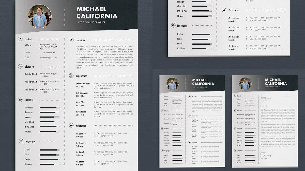 plantillas de CV simples con carta de presentación